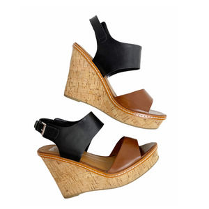 Dolce Vita Brown Black Leather Strappy Wedges Cork